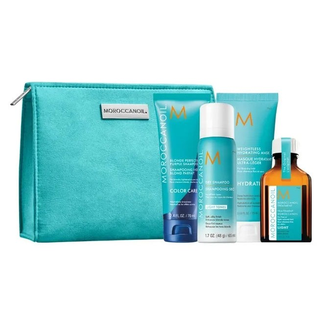Moroccanoil Blonde On The Go Travel Set (Dry Shampoo Light Tones 62ml, Blonde Perfecting Purple Shampoo 70ml, Weightless Hydrating Mask 75ml & Oil Treatment Light 25ml)