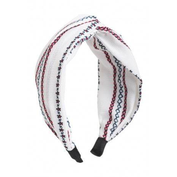 Petit Boutik - Άσπρη Έθνικ Φαρδιά Στέκα Μαλλιών Κρεπ Στυλ Τουρμπάνι