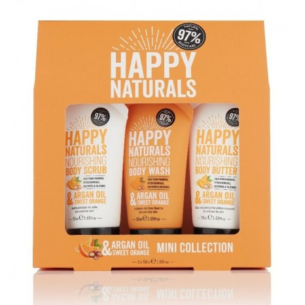 Happy Naturals Argan Oil & Shea Mini Collection (Body Scrub 50ml, Body Wash 50ml & Body Butter 50ml)