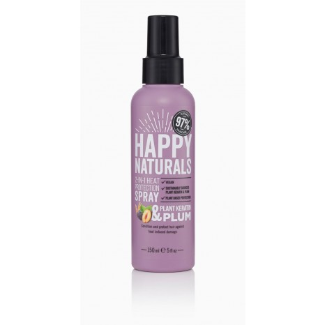 Happy Naturals Plant Keratin & Plum 2-in-1 Heat Protection Spray (150ml)
