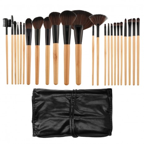 Tools for Beauty - 24Pcs Makeup Brush Set with Pouch - Wooden Black