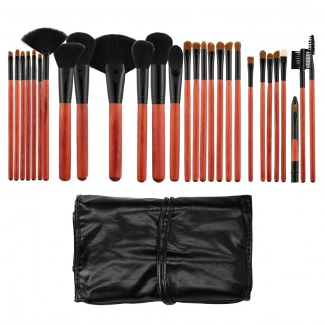 Tools for Beauty - 28Pcs Makeup Brush Set with Pouch - Cherry Black