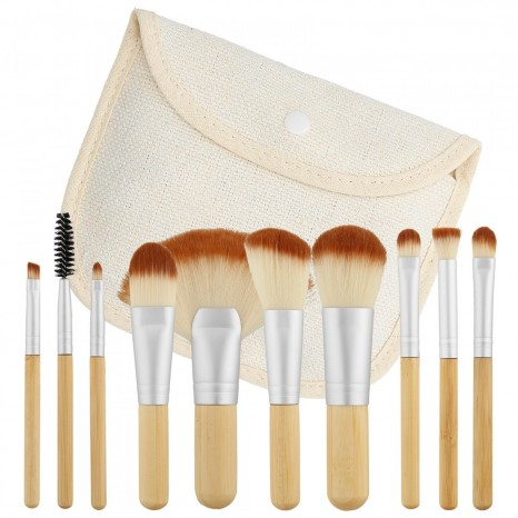 Tools for Beauty - 10Pcs Bamboo Makeup Brush Set