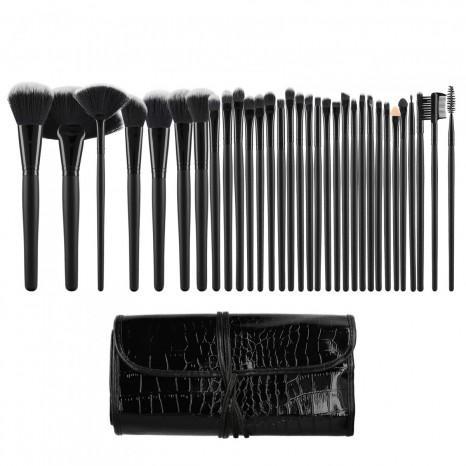 Tools for Beauty - 32Pcs Makeup Brush Set with Pouch - Black