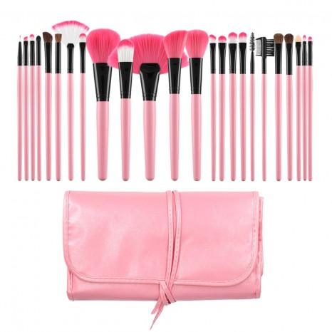Tools for Beauty - 24Pcs Makeup Brush Set with Pouch - Pink Black