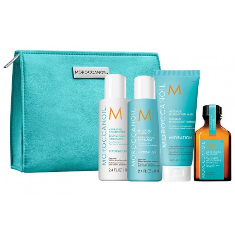 Moroccanoil Hydration On The Go Travel Set (Shampoo 70ml, Conditioner 70ml, Intense Hydrating Mask 75ml & Oil Treatment 25ml)