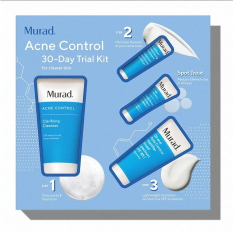 Murad Acne Control 30-Day Trial Kit (Clarifying Cleanser 60ml, Oil & Pore Control Mattifier SPF45 23ml, Rapid Relief Acne Spot Treatment 7.5ml & InvisiScar™ Resurfacing Treatment 5ml)