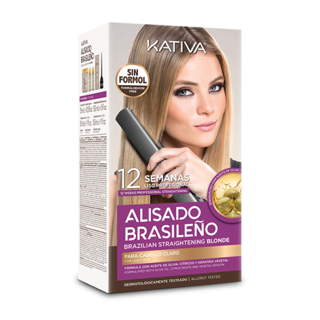 Kativa Alisado Brasileno Straightening Blonde Kit (Pre Shampoo 15 ml, Mask 150ml, Shampoo 30ml, Conditioner 30ml)