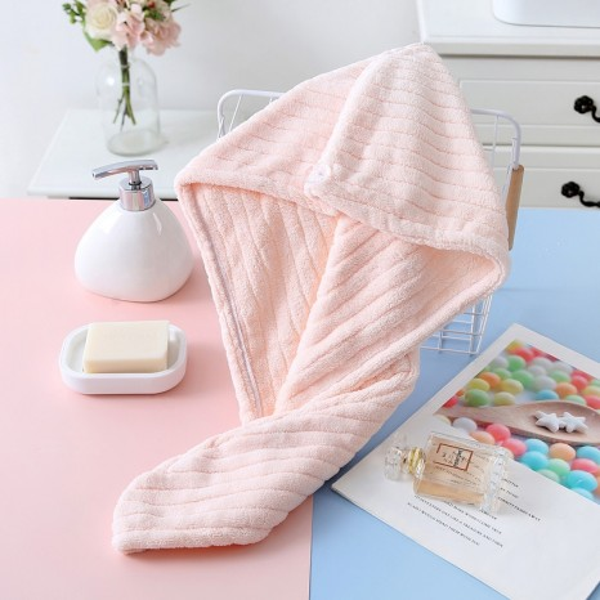 Bobby Warren Microfiber Hair Turban / Wrap Towel - Pink (65cm x 25cm)