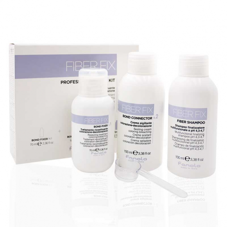 Fanola Fiber Fix Kit (Bond Fixer No1 70ml, Bond Connector No2 100ml & Fiber Shampoo 100ml)