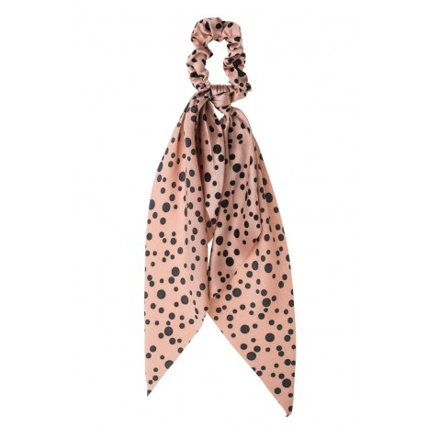 Petit Boutik - Ροζ Σατέν Πουά Scrunchie με Φιόγκο Μαντήλι