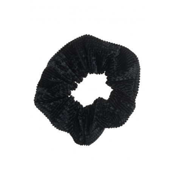 Petit Boutik - Μαύρο Βελούδινο Scrunchie με Ανάγλυφα Τετράγωνα