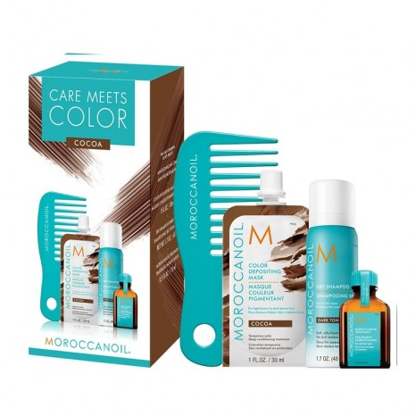 Moroccanoil Care Meets Color Cocoa Set (Oil Treatment Light 15ml, Cocoa Color Depositing Mask 30ml, Dry Shampoo Dark Tones 65ml & Mini Xτένα)