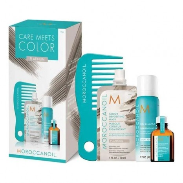 Moroccanoil Care Meets Color Platinum Set (Oil Treatment Light 15ml, Platinum Color Depositing Mask 30ml, Dry Shampoo Light Tones 65ml & Mini Xτένα)