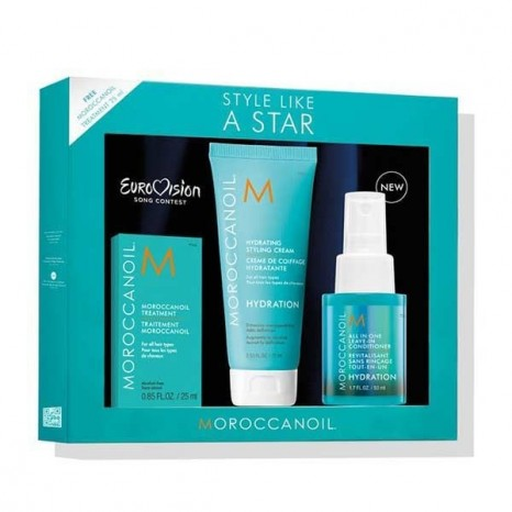 Moroccanoil Style Like A Star Eurovision Hydration Set Leave-In Conditioner 50ml, Hydrating Styling Cream 50ml, Oil Treatment 25ml))